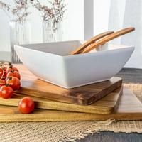 Better Homes & Gardens Porcelain Large Square Serve Bowl, White