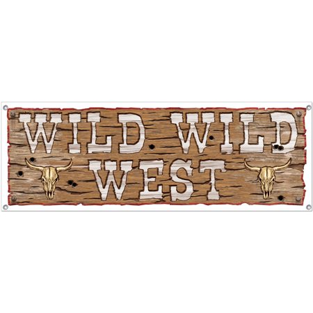 Wild West Sign Banner (Each) - Party Supplies for $<!---->