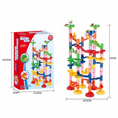 Ihuan DIY Marble Run Coaster Maze Toy - Hanmun DIY Marble Race Toy 91 Piece - Marble Racer
