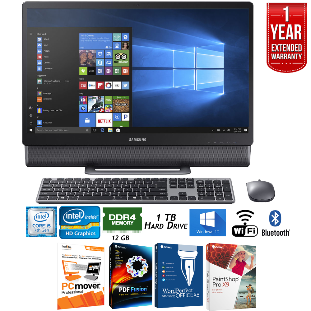 "Samsung DP710A4M-L01US 23.8"" Intel Core i5, 12GB RAM All-in-One TouchScreen Computer + Elite Suite 17 Standard Software Bundle (Corel WordPerfect, PC Mover, PDF Fusion, X9) + 1 Year Extended Warranty"