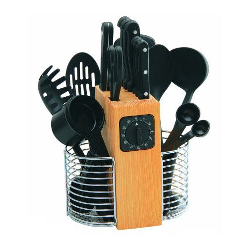 Rogers by Stanley Roberts 25 Piece Cutlery and Gadget Pro Set with Wood Block in Black
