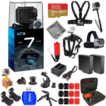 GoPro HERO7 HERO 7 Action Camera (Black) Pro Accessory Kit with Extra Batteries and Charger, 64GB Micro SD, Head and Chest Strap, Dog Harness, Medium Case + MUCH MORE
