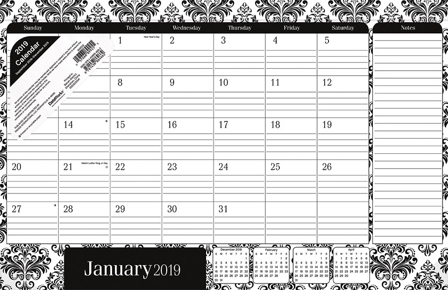 2019 Elegance Desk Pad Calendar by Trends International