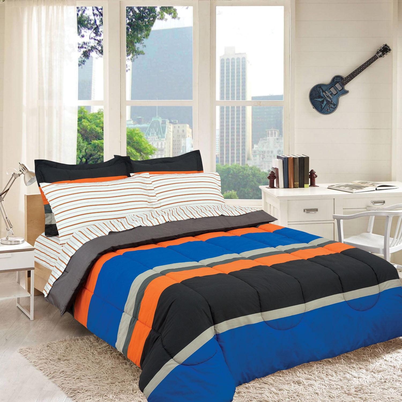 Gray Orange Blue Stripes Boys Teen Twin Comforter Set 5 Piece Bed In A Bag Walmart Com Walmart Com