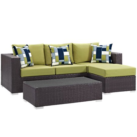 Sol 72 Outdoor Brentwood 3 Piece Rattan Sectional Set with Cushions