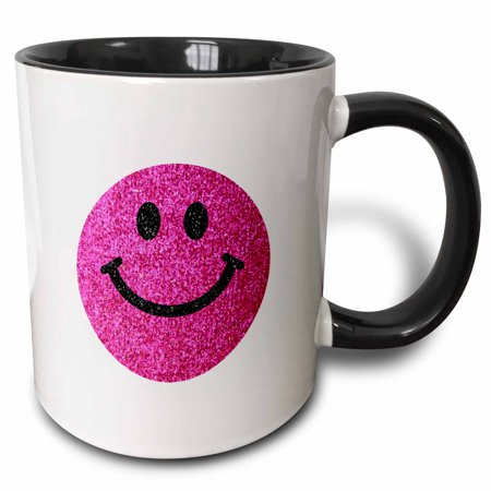 - 3dRose Retro Hot pink smiley face glittery texture graphic - not actual glitter or sparkles on funky white - Two Tone Black Mug, 11-ounce