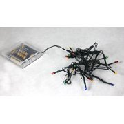 Set of 20 Battery Operated Multi-Color Micro Rice Christmas Lights - Green Wire