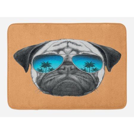 Pug Bath Mat, Dog with Reflecting Aviators Palm Trees Tropical Environment Cool Pet Animal, Non-Slip Plush Mat Bathroom Kitchen Laundry Room Decor, 29.5 X 17.5 Inches, Black Orange Blue, Ambesonne