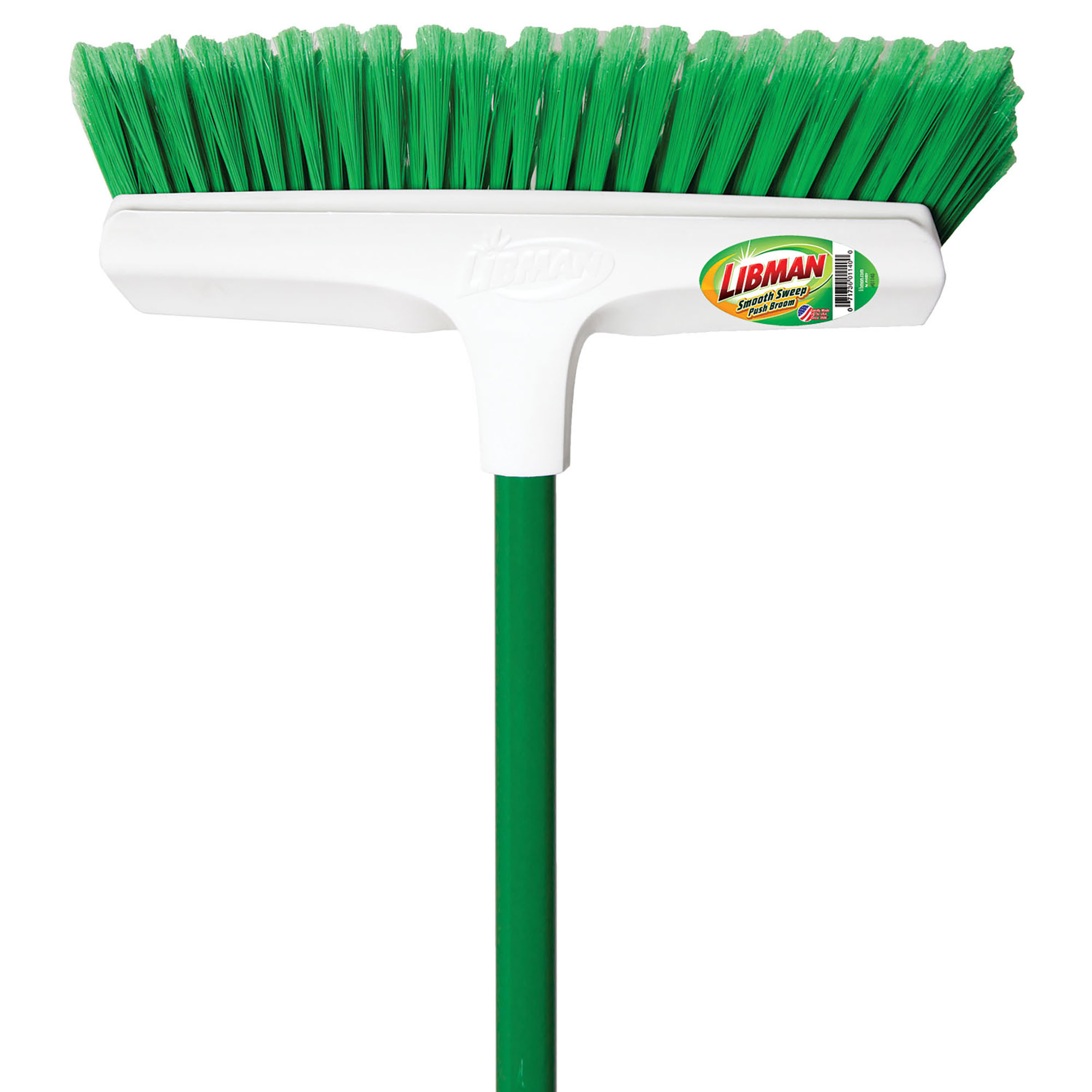 "Click here to buy Libman 1140 13"" Green & White Smooth Sweep Push Broom by Libman Co.."