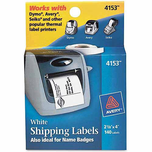 """Avery Shipping Labels, 2-1/8"""" x 4"""", White, 140/Roll, 1 Roll/Box"""