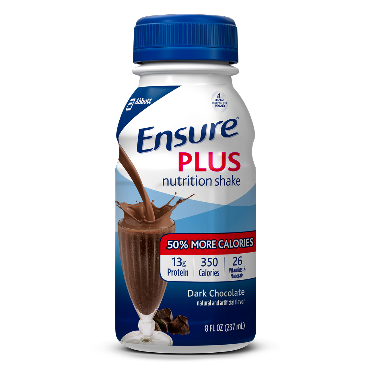 Ensure Plus Nutrition Shake with 13 grams of high-quality protein, Meal Replacement Shakes, Dark Chocolate, 8 Fl oz, 24 Ct
