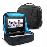 Portable DVD Player Headrest Car Mount Case by USA GEAR - Storage Bag Fits DBPOWER 9.5 Inch, Sylvania SDVD10408, Ematic EPD909, Azend BDP-M1061, Sony BDPSX910, & more 7-10 Blu-ray / DVD Players