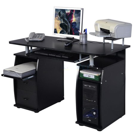 Ktaxon Black Home Office Computer PC Desk Table Work Station,Office Home Raised Monitor&Printer Shelf Furniture ()