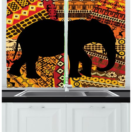 Elephant Curtains 2 Panels Set, Animal Theme Design Elephant Silhouette on Ethnic Textures Pattern Print, Window Drapes for Living Room Bedroom, 55W X 39L Inches, Brown and Black, by Ambesonne