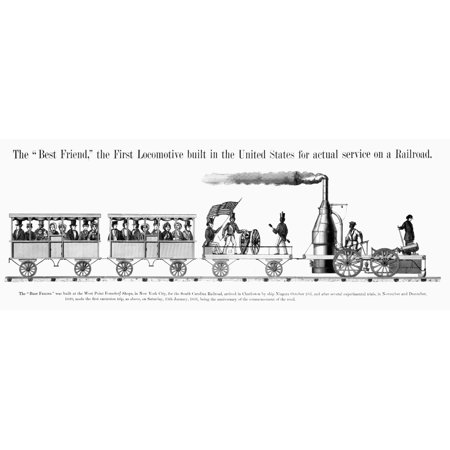 American Locomotive 1830 Nthe Best Friend Of Charleston First Locomotive Built In The United States 1830 For Regular Service Contemporary Lithograph Rolled Canvas Art -  (24 x