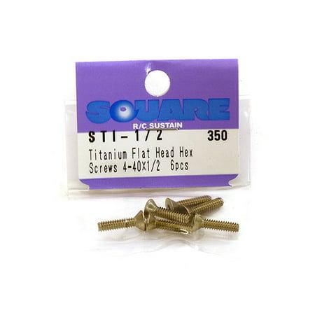 Integy RC Toy Model Hop-ups SQ-STI-1/2 Square R/C 4-40 x 1/2in Titanium Flat Head Hex Screws (6 pcs.) ()