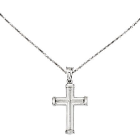 14kt White Gold Hollow Cross Pendant