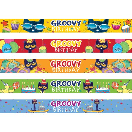 Pete the Cat Groovy Birthday Slap Bracelets (Slap Bracelets 90s)