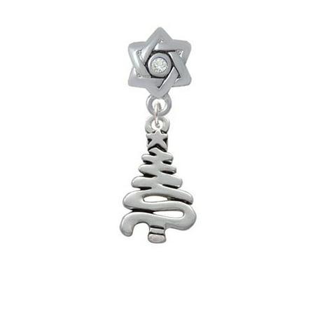 Christmas Tree Star Charm - Christmas Tree Zig Zag - Star of David with Clear Crystal Charm Bead
