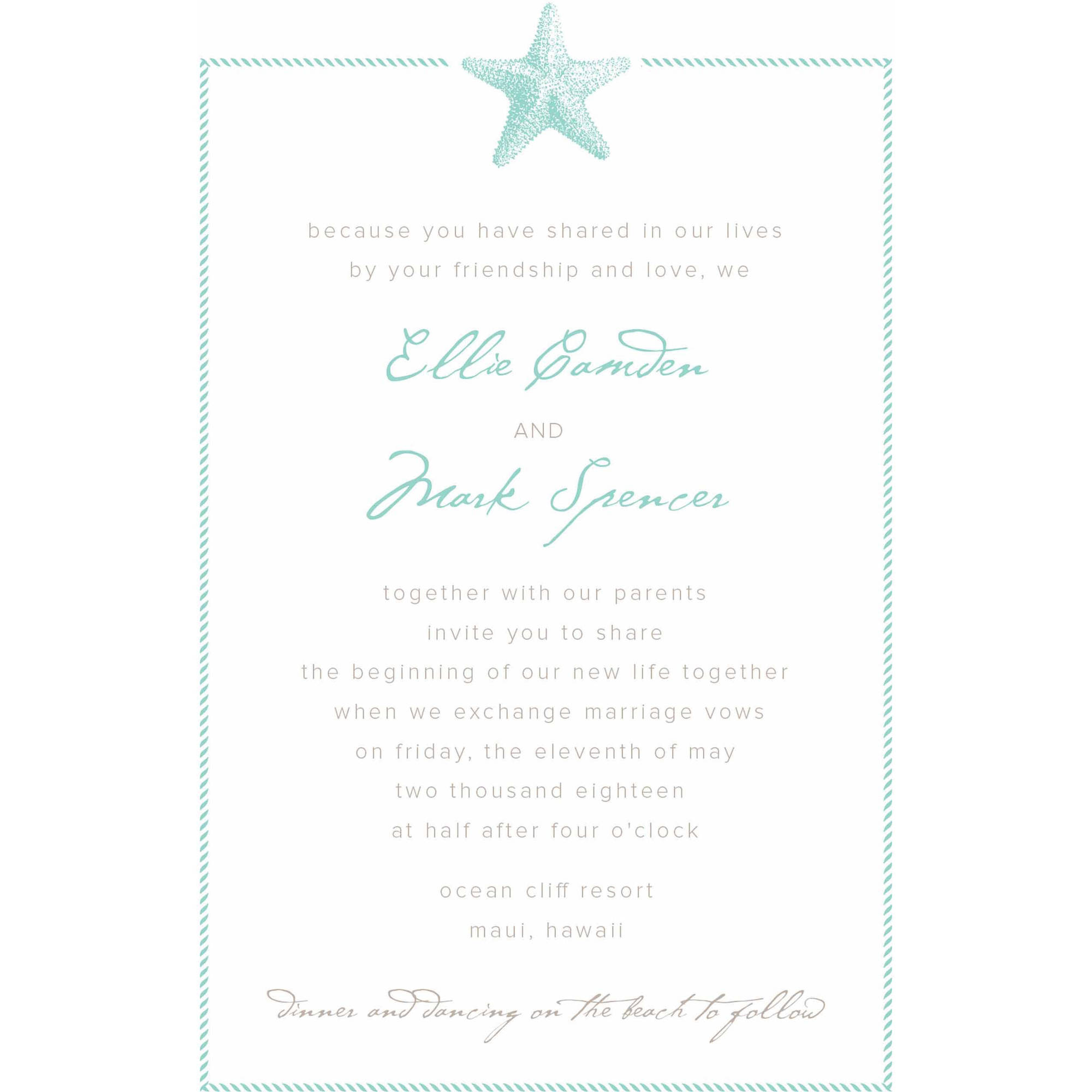 Sophisticated Starfish Standard Wedding Invitation - Walmart.com