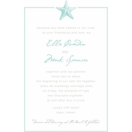 Sophisticated Starfish Standard Wedding Invitation