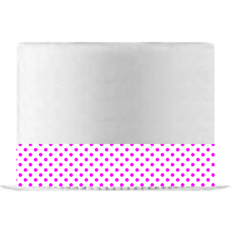 White and Hot Pink Polka Dot Edible Cake Decoration Ribbon -6 Slim Strips - Polka Dot Cake