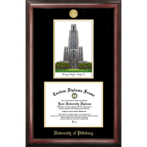 "University of Pittsburgh 8.5"" x 11"" Gold Embossed Diploma Frame with Campus Images Lithograph"