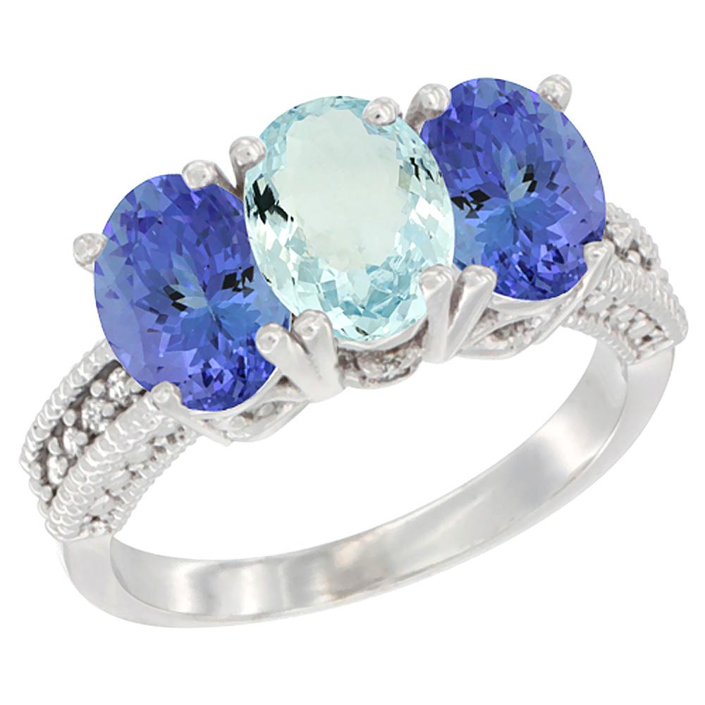 10K White Gold Diamond Natural Aquamarine & Tanzanite Ring 3-Stone 7x5 mm Oval, sizes 5 10 by WorldJewels