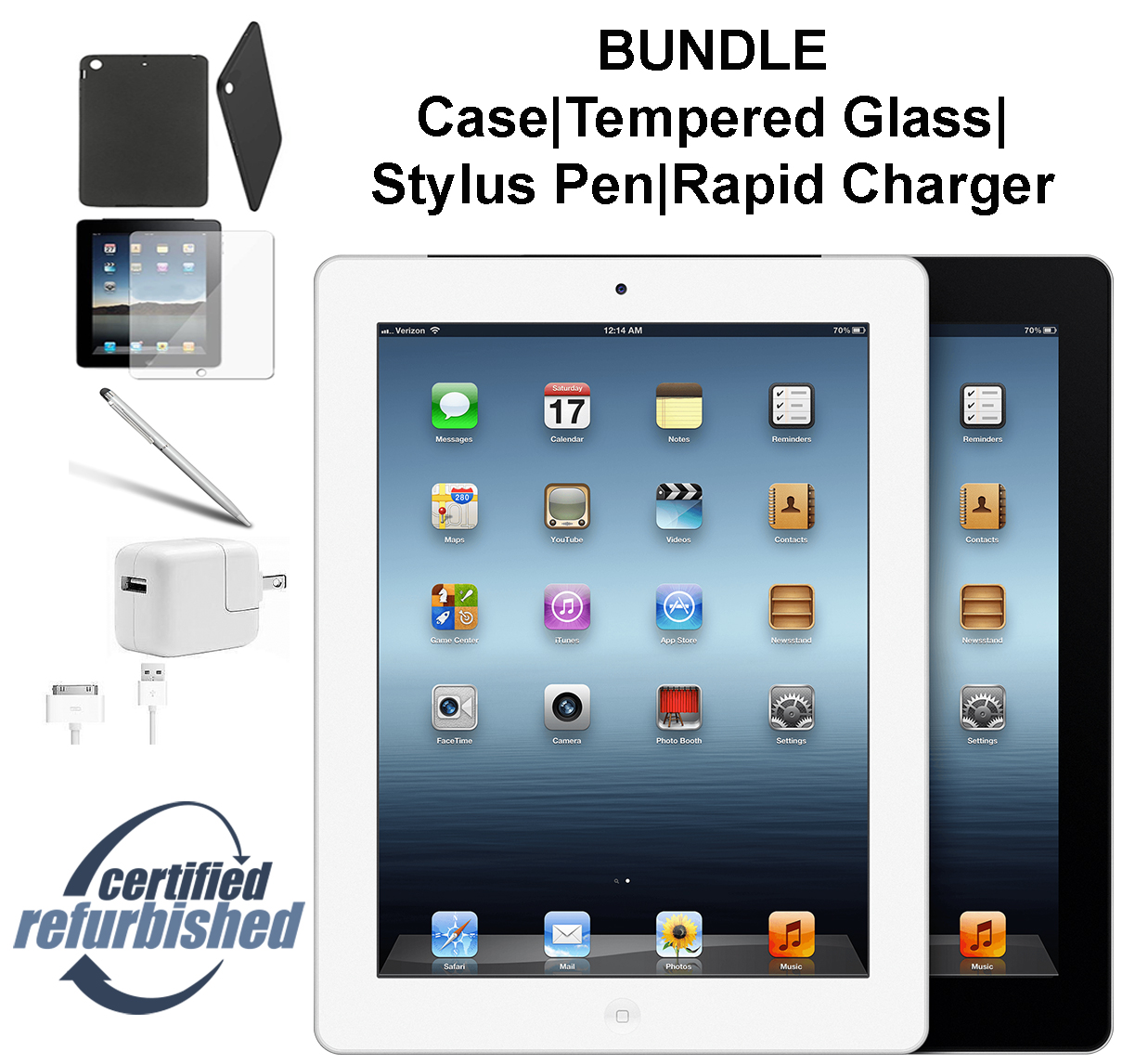 Apple iPad 2 64GB Black - WiFi - Bundle - Case, Rapid Charger, Tempered Glass & Stylus Pen ---- FREE 2 Day Shipping (Refurbished )