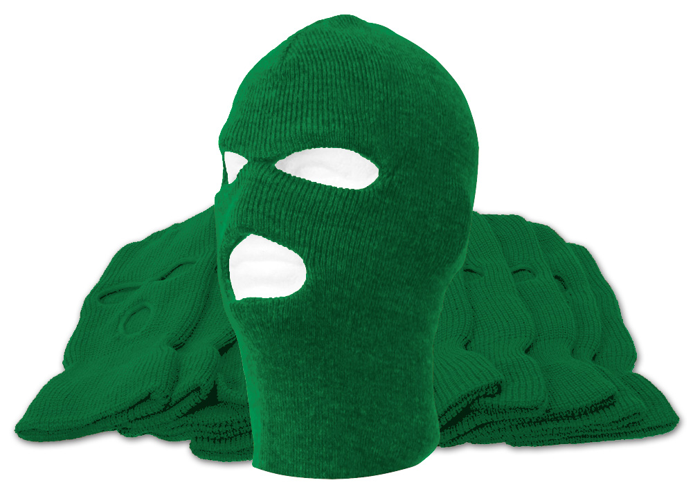 3-Hole Ski Mask 12-Pack Kelly Green by