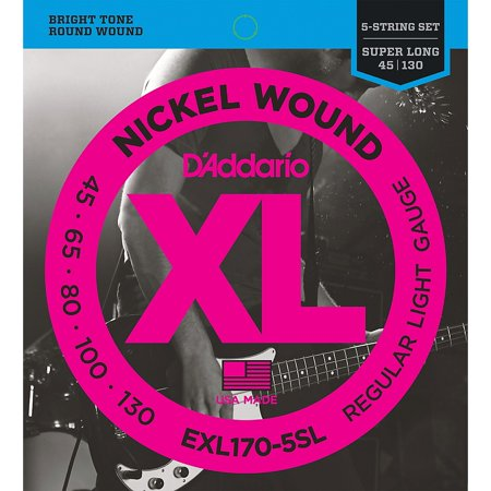 D'Addario EXL170-5SL Regular Light Nickel Wound Super Long Scale 5-String Bass Strings Daddario Chrome Bass Strings