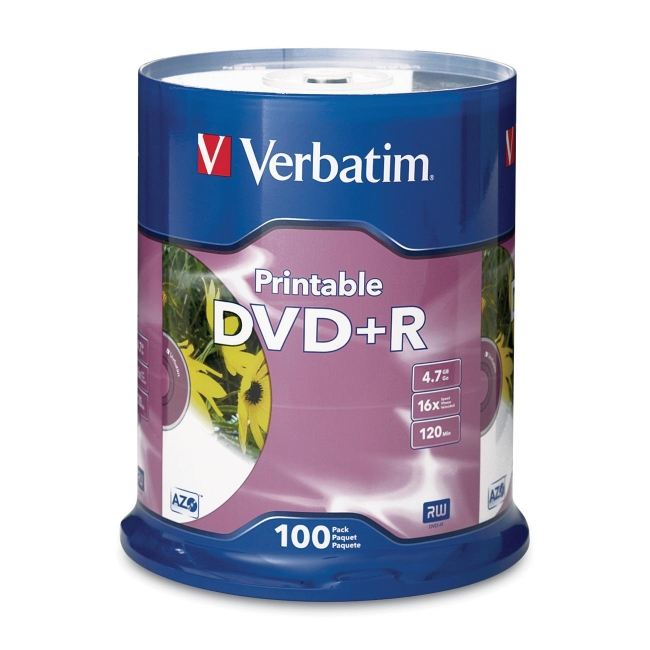 Verbatim DVD+R (4.7 GB) (16X) Inkjet Printable, White, Hub Logo (100 Ea/Pkg)
