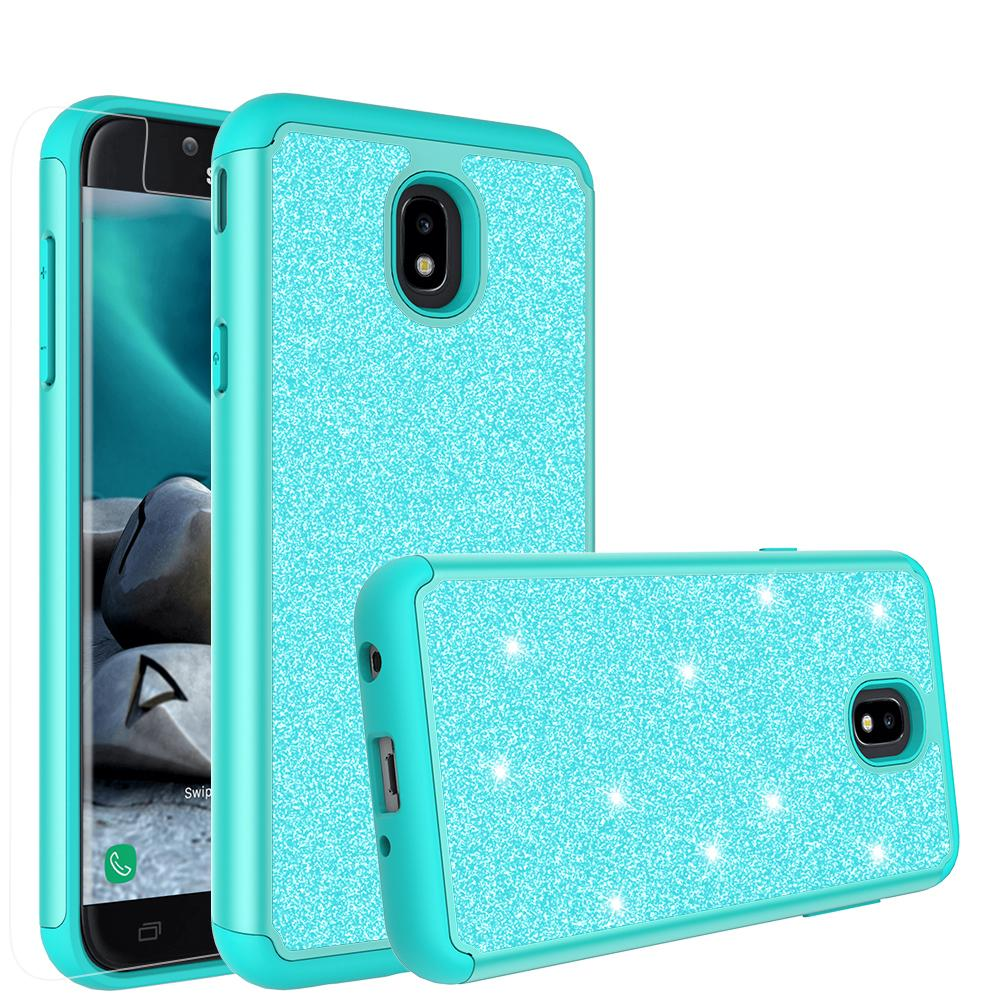 Herbests Compatible with Samsung Galaxy J7 2018 Case Women Girl Glitter Bling Crystal Sparkle Shiny 3D Diamond Paillette Soft Silicone Gel Rubber Shockproof Protective Case Cover,Red