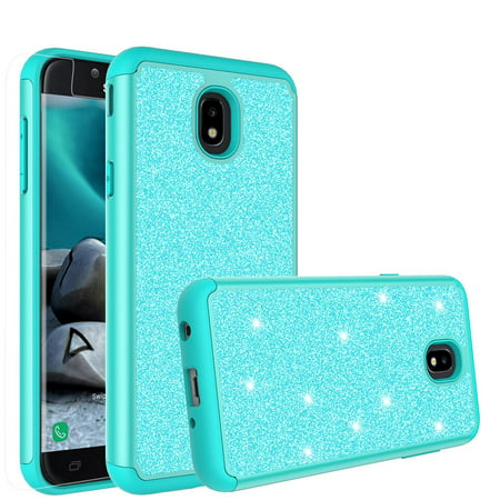 new styles e64d8 cb58c Samsung Galaxy J7 (2018) Case, SM-J737V Case,Cute Girls Women Glitter Bling  Silicone Shock Proof Hybrid Case [Screen Protector] Dual Layer Protective  ...