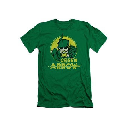 Green Arrow DC Comics Superhero Retro Comic Circle Adult Slim T-Shirt - Green Superhero