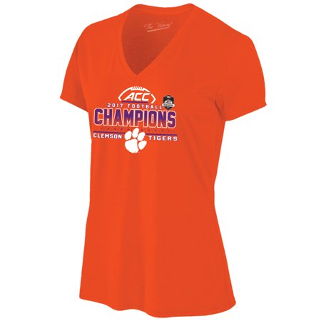 Clemson Tigers Women's 2017 ACC Football Conference Champions Locker Room V-Neck T-Shirt - Orange