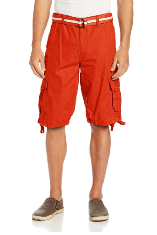 Mens Basic Belted Cargo Shorts 9001-3341-34-Black
