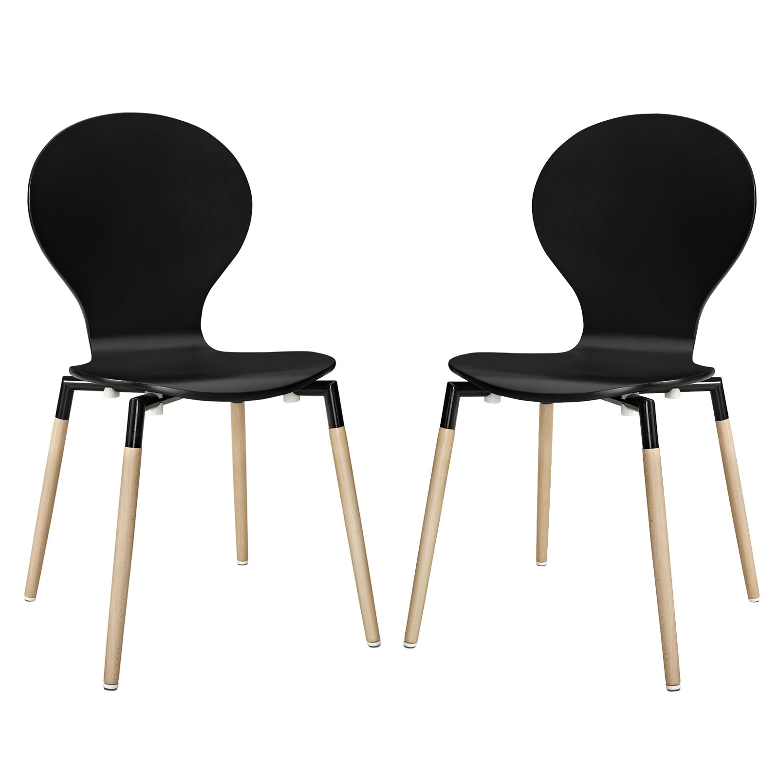 Modern Contemporary Kitchen Wood Dining Chair Set of Two Black