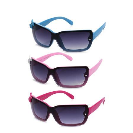 Newbee Fashion - Kids Girls Cute Bow Fashion Sunglasses One Piece Shield Lense (4-12 Years) UV Protection 1 Piece Pouring Shield