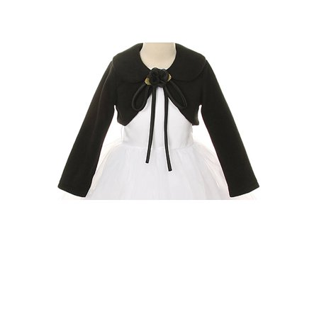 Dempsey Marie Girls Cozy Long Sleeve Bolero Sweater with Matching Flower - Girls Argyle Sweater