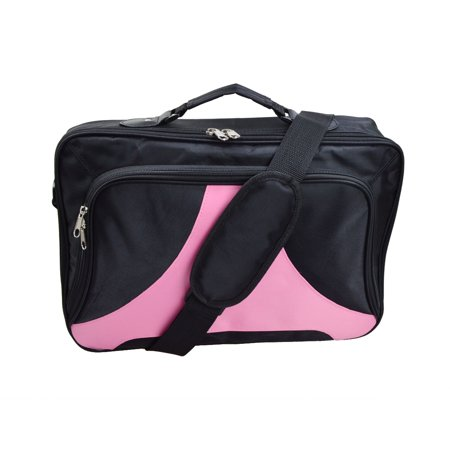Black Pink Laptop Bag Notebook Case Shoulder Messenger Bag for 15.6