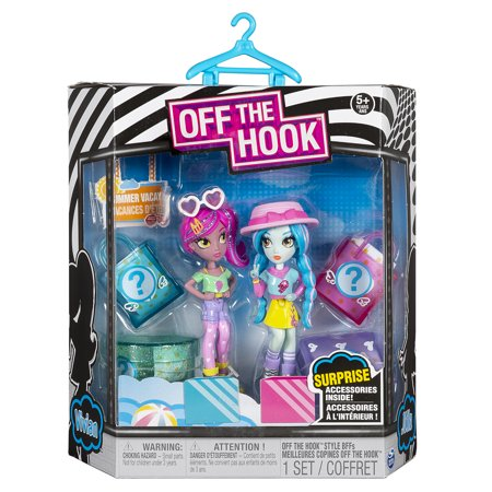 "Off The Hook Style BFFs Vivian and Mila (Summer Vacay) 4"" Small Dolls with Mix and Match Fashions and Accessories"