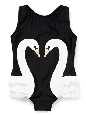 stylesilove Kid Girl One Piece Swan Print Ruffle Swimsuit Beachwear Bathing Suit (4T, White)