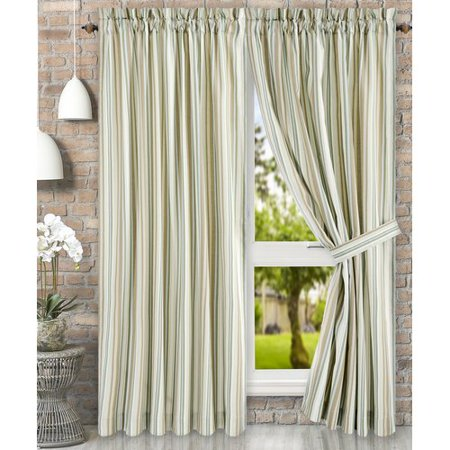 Ellis Curtain Jaden Stripe Tailored Curtain Panel with Ties (Set of 2) Sheer Tailored Panel
