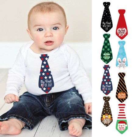 Baby's First Holidays Milestone Tie Sticker Set - Baby Shower Gift Ideas - Set of 8 Neckties - January Craft Ideas