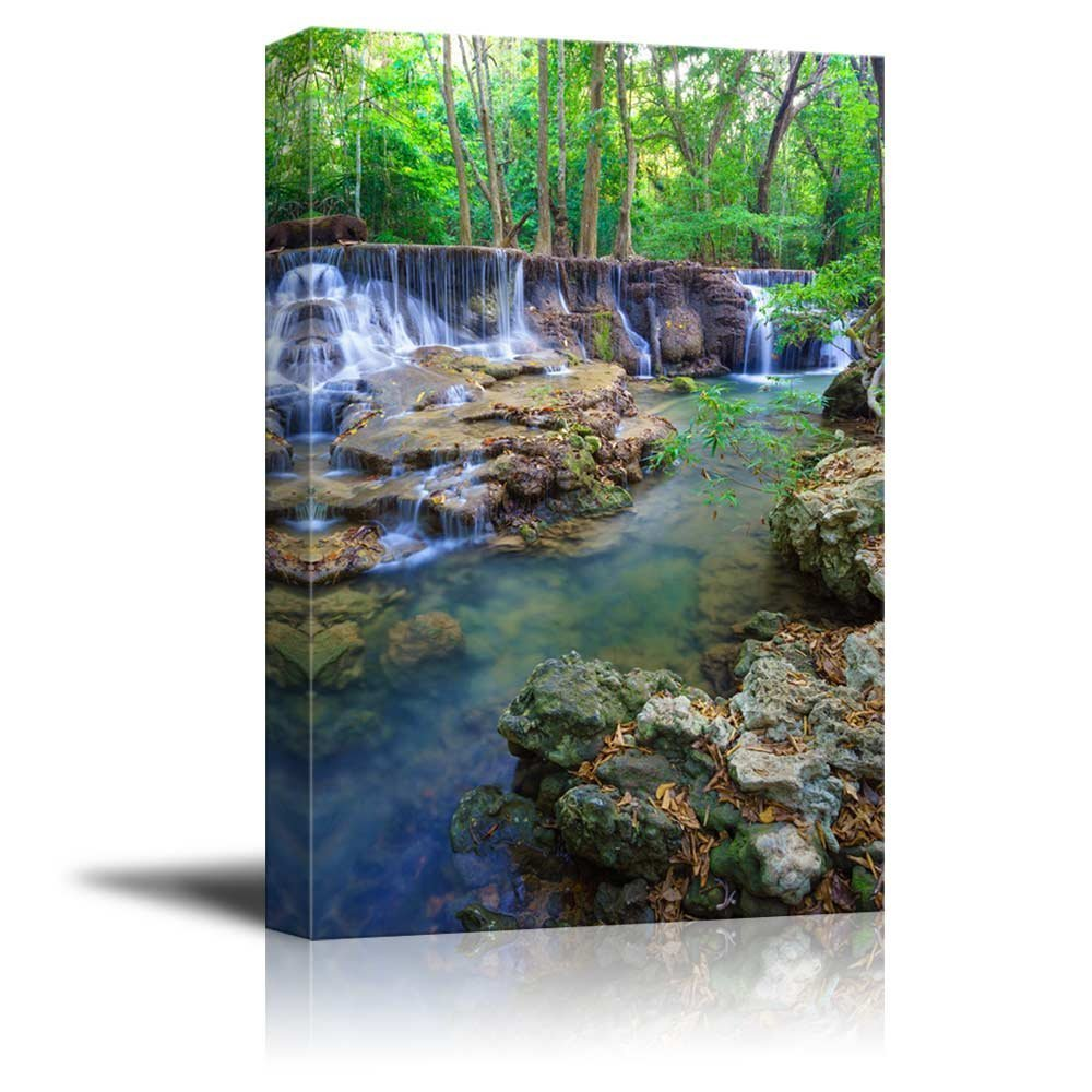 "Canvas Prints Wall Art - Deep Forest Waterfall in Kanchanaburi Province, Thailand| Modern Home Deoration/Wall Decor Giclee Printing Wrapped Canvas Art Ready to Hang - 18"" x 12"""