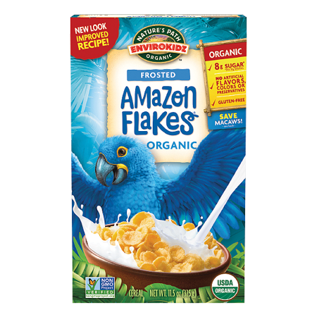Natures Path, EnviroKidz Breakfast Cereal, Frosted Amazon Flakes, Organic, Frosted Flakes, 11.5 Oz
