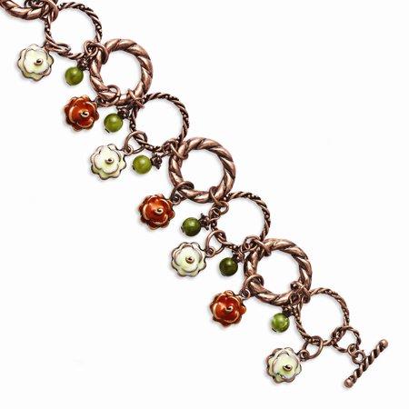 Copper-tone Orange & Ivory Enamel, Green Beads 7in Bracelet