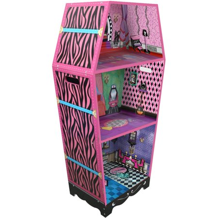 Teamson Kids - Vampire Villa Coffin Wooden Doll House with 7pcs Furniture for 12 inch Dolls