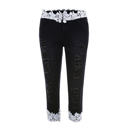 Lace Patchwork Women Skinny Capri Jeans Ripped Denim Pants